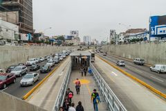 LIMA, PERU - JUNE 4, 2015: Metropolitano rapid transport bus system station on Paseo de la Republica roa. D royalty free stock images