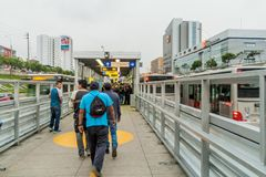 LIMA, PERU - JUNE 4, 2015: Metropolitano rapid transport bus system station on Paseo de la Republica roa. D stock images