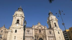 LIMA, PERU 12 JUNI, 2016: sluit schot van de kathedraal van Lima in Peru royalty-vrije stock fotografie