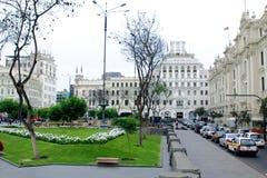 LIMA PERU - MAJ 10, 2015: PlazaSan svala lima peru Fotografering för Bildbyråer