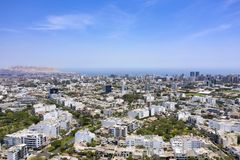 Aerial view of Miraflores district including La Aurora parks. royalty free stock photo