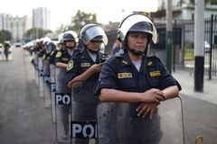 Group of Peruvian police women at march for woman`s day stock images