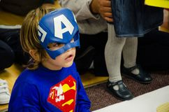 Child disguised as a superhero royalty free stock images
