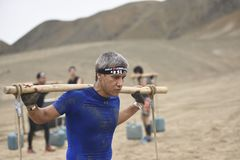 Inka Challenge, an extreme obstacle reawakened on a beach south of Lima. stock photography
