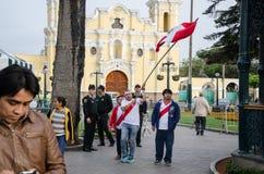 Lima, Peru - OCTOBER 10th 2017: Fanaticism in Peru Peru vs Colombia Russia 2018 Royalty Free Stock Images