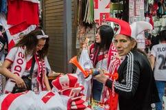 Lima, Peru - OCTOBER 10th 2017: Fanaticism in Peru Peru vs Colombia Russia 2018 Stock Image