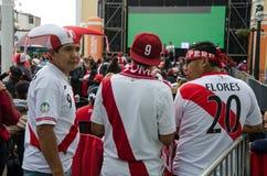 Lima Peru, PAŹDZIERNIK, - 10th 2017: Fanatyzm w Peru Peru vs Kolumbia Rosja 2018 Zdjęcie Stock