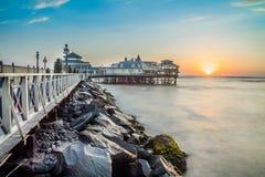 Lima Peru, panorama- strandsolnedgång Royaltyfri Fotografi