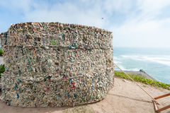 Lima, Peru. Paper covered rest area from Miraflores. South Pacific Ocean in Background Royalty Free Stock Images