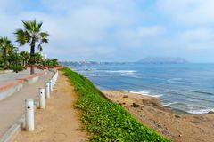 Lima, Peru, park in Miraflores district with Pacific coast view stock image