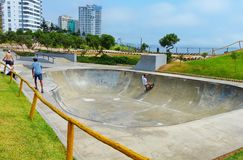 Lima, Peru. Skateboard park at the Miraflores district royalty free stock photos