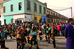 Lima Peru/8th September 2013/Young boys and girls perform tradit royalty free stock image
