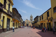 Lima, Petu - 31 décembre 2013 : Vue d'église Iglesia San Lazaro Photo stock