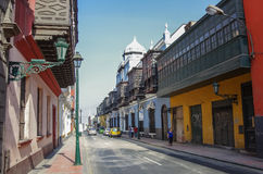 Lima, Petu -December 31, 2013: Street view of Lima old town with Stock Photography