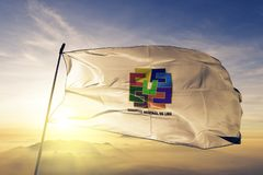 Lima Province Region of Peru flag textile cloth fabric waving on the top sunrise mist fog. Beautiful royalty free stock photography