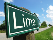 LIMA signpost. Along a rural road Stock Photography