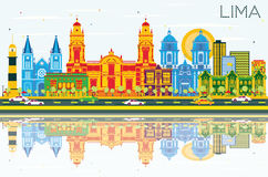 Lima Skyline with Color Buildings, Blue Sky and Reflections. Royalty Free Stock Images