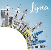 Lima Skyline with Gray Buildings, Blue Sky and Copy Space. Stock Photos