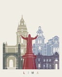 Lima skyline poster Royalty Free Stock Photo