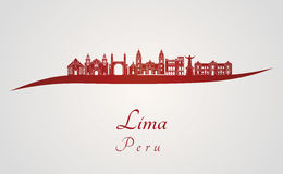 Lima skyline in red Stock Image