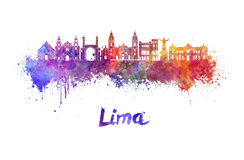 Lima skyline in watercolor Royalty Free Stock Photography