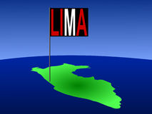 Lima sur la carte du Pérou Photos libres de droits