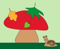 Ślimaczek i pieczarka Zdjęcie Royalty Free