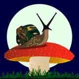 Ślimaczek odpoczywa na pieczarce Zdjęcie Royalty Free