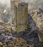 Limaktiga ris som grillas i bambu Royaltyfria Bilder