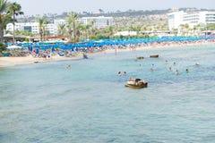 Limanaki海滩在Ayia Napa,塞浦路斯 免版税库存照片