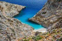 Limania de Seitan o playa de Stefanou, Creta Imagen de archivo libre de regalías
