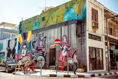 LIMASSOL CYPERN - APRIL 01, 2016: Tyst bakgata i Limassol Arkivbilder