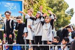 LIMASSOL CYPR, LUTY, - 26: Dziecko karnawał bierze część w dzieciach karnawałowa parada, Luty 26, 2017 w Limassol Obrazy Royalty Free