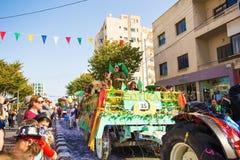 LIMASSOL CYPR, LUTY, - 26: Dziecko karnawał bierze część w dzieciach karnawałowa parada, Luty 26, 2017 w Limassol Zdjęcie Royalty Free