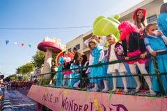 LIMASSOL CYPR, LUTY, - 26: Dziecko karnawał bierze część w dzieciach karnawałowa parada, Luty 26, 2017 w Limassol Fotografia Stock