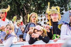 LIMASSOL CYPR, LUTY, - 26: Dziecko karnawał bierze część w dzieciach karnawałowa parada, Luty 26, 2017 w Limassol Fotografia Royalty Free