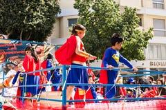 LIMASSOL CYPR, LUTY, - 26: Dziecko karnawał bierze część w dzieciach karnawałowa parada, Luty 26, 2017 w Limassol Obraz Royalty Free