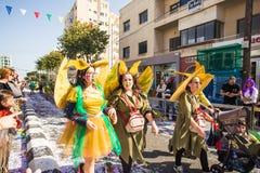 LIMASSOL CYPR, LUTY, - 26: Niezidentyfikowani Karnawałowi uczestnicy maszerują w Cypr Karnawałowej paradzie na LUTY 26, 2017 Zdjęcie Royalty Free
