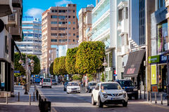 LIMASSOL CYPR, MARZEC, - 03, 2017: Anexartisias ulica majo Obrazy Royalty Free