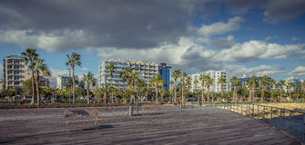 Limassol, Cyprus - DECEMBER 2016: Promenade along the coastline Stock Photography