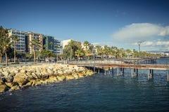 Limassol, Cyprus - DECEMBER 2016: Promenade along the coastline Stock Images