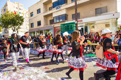 LIMASSOL, CYPRUS - FEBRUARY 26: Carnival participants on Cyprus Carnival Parade on February 26, 2017 in Limassol Royalty Free Stock Photos