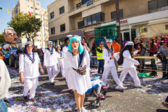 LIMASSOL, CYPRUS - FEBRUARY 26: Carnival participants on Cyprus Carnival Parade on February 26, 2017 in Limassol Stock Photography