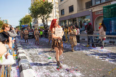 LIMASSOL, CYPRUS - FEBRUARY 26: Carnival participants on Cyprus Carnival Parade on February 26, 2017 in Limassol Royalty Free Stock Image