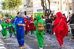LIMASSOL, CYPRUS - FEBRUARY 26: Carnival participants on Cyprus Carnival Parade on February 26, 2017 in Limassol Royalty Free Stock Images