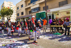 LIMASSOL, CYPRUS - FEBRUARY 26: Grand Carnival Parade - an unidentified people of all ages ,gender and nationality in Royalty Free Stock Photography