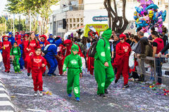 LIMASSOL, CYPRUS - FEBRUARY 26: Grand Carnival Parade - an unidentified people of all ages ,gender and nationality in Royalty Free Stock Photo