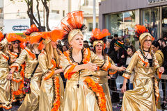 LIMASSOL, CYPRUS - FEBRUARY 26: Grand Carnival Parade - an unidentified people of all ages ,gender and nationality in Royalty Free Stock Image