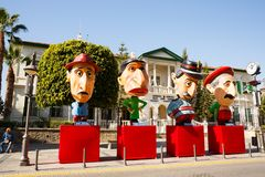Carnival figures. Limassol, Cyprus - February16, 2016 - Politicians figures standing at the administrative centre of city during the carnival period royalty free stock photography