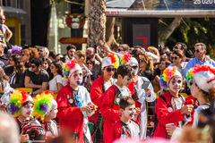 LIMASSOL, CYPRUS - FEBRUARY 26: Unidentified Carnival participants march in Cyprus Carnival Parade on FEBRUARY 26, 2017 Royalty Free Stock Photos